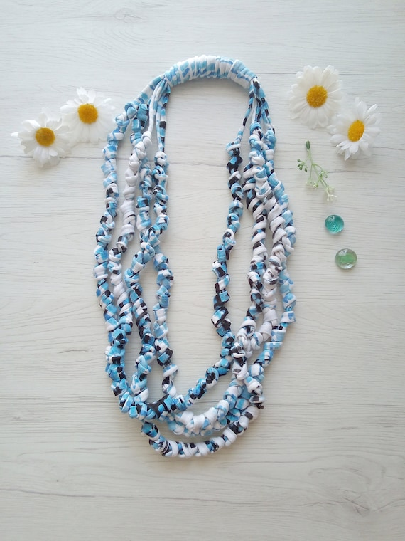 boho chic multistrand necklace fabric necklace grey modern,N9 cotton threads Textile jewelry glass seed beads,dark grey hand wrapped
