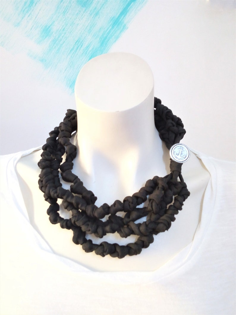 Knotted t shirt necklace knit fabric necklace bead scarf 21.6 Inches