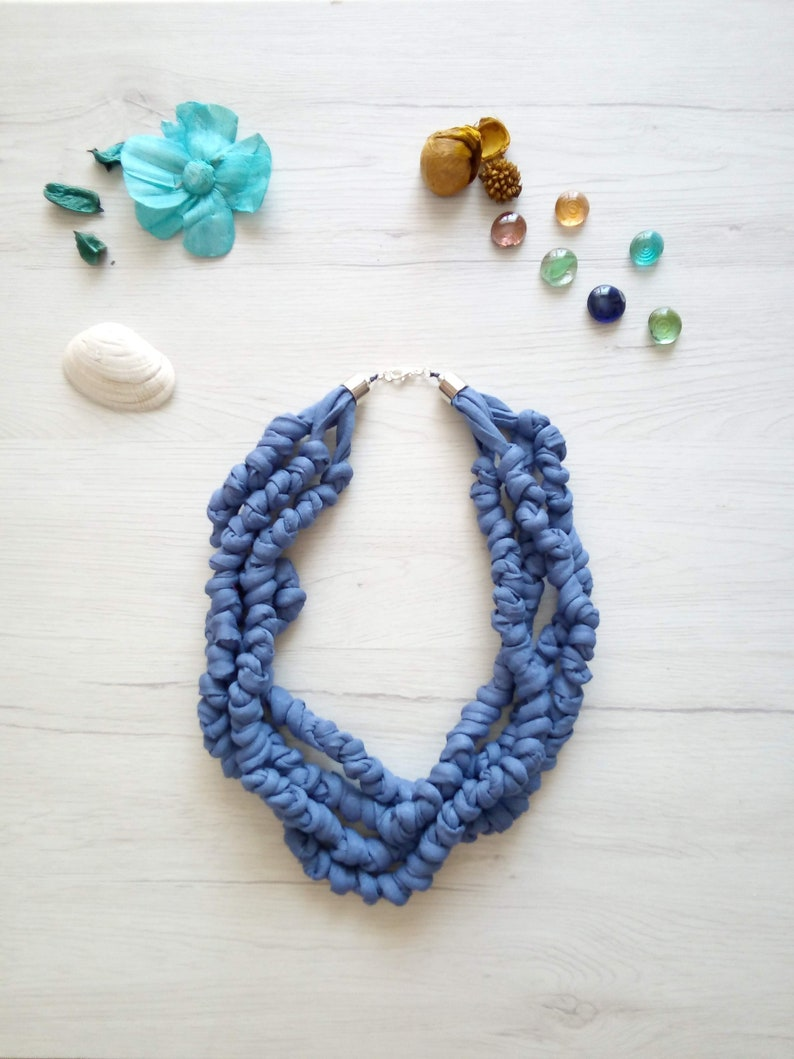 Knot fabric necklace for women  multi strand bib royal blue 28 Inches