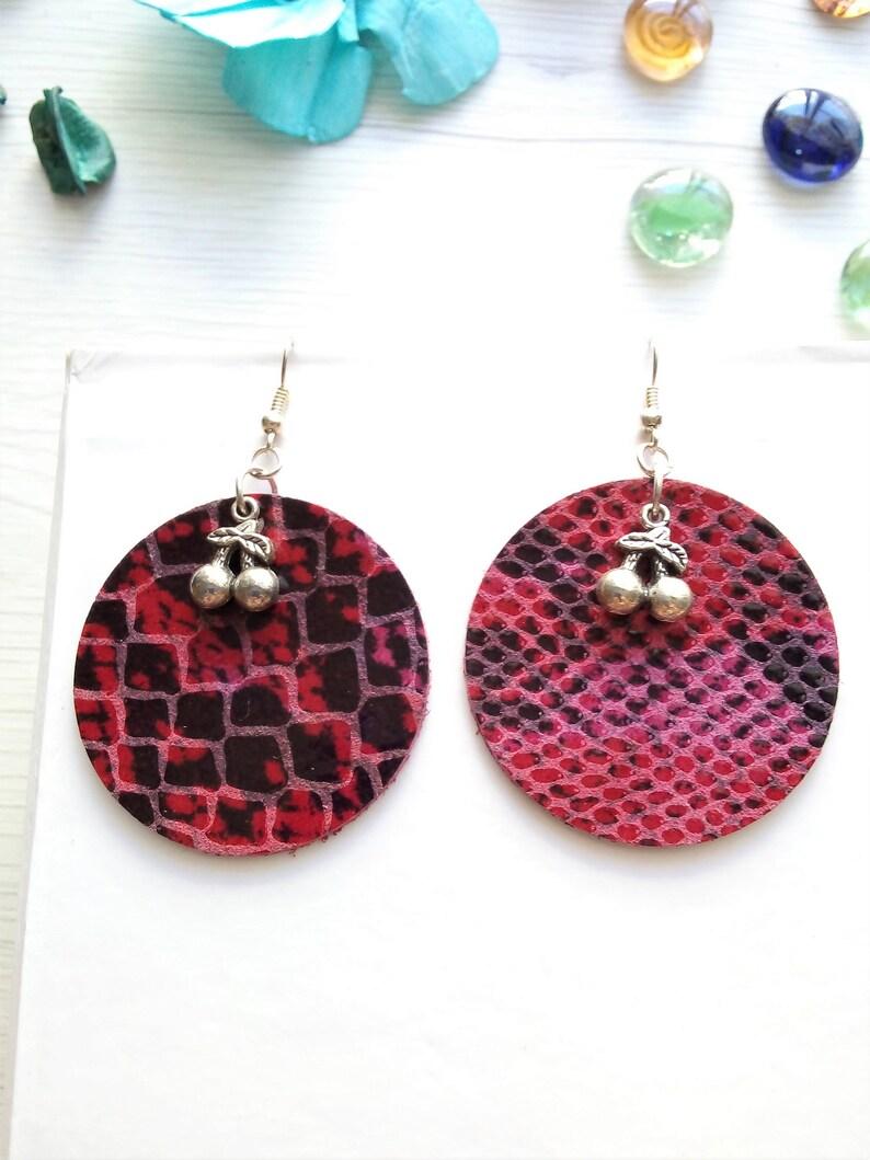 Pink leather earrings cherry earrings leopard earrings boho image 0
