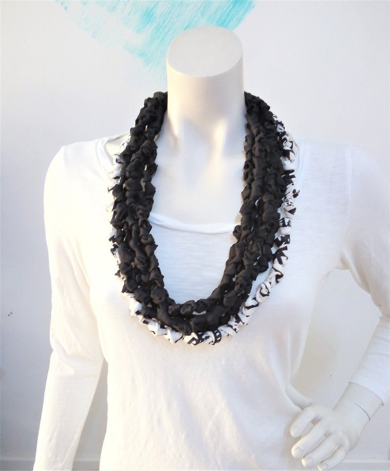 Knotted t shirt necklace knit fabric necklace bead scarf image 0