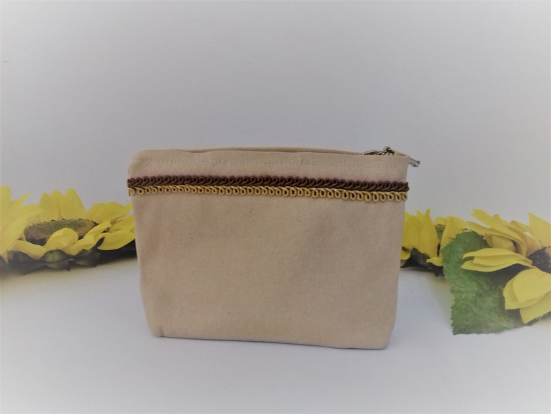 Zipped clutch canvas toiletry bag earth tone cosmetic pouch image 0