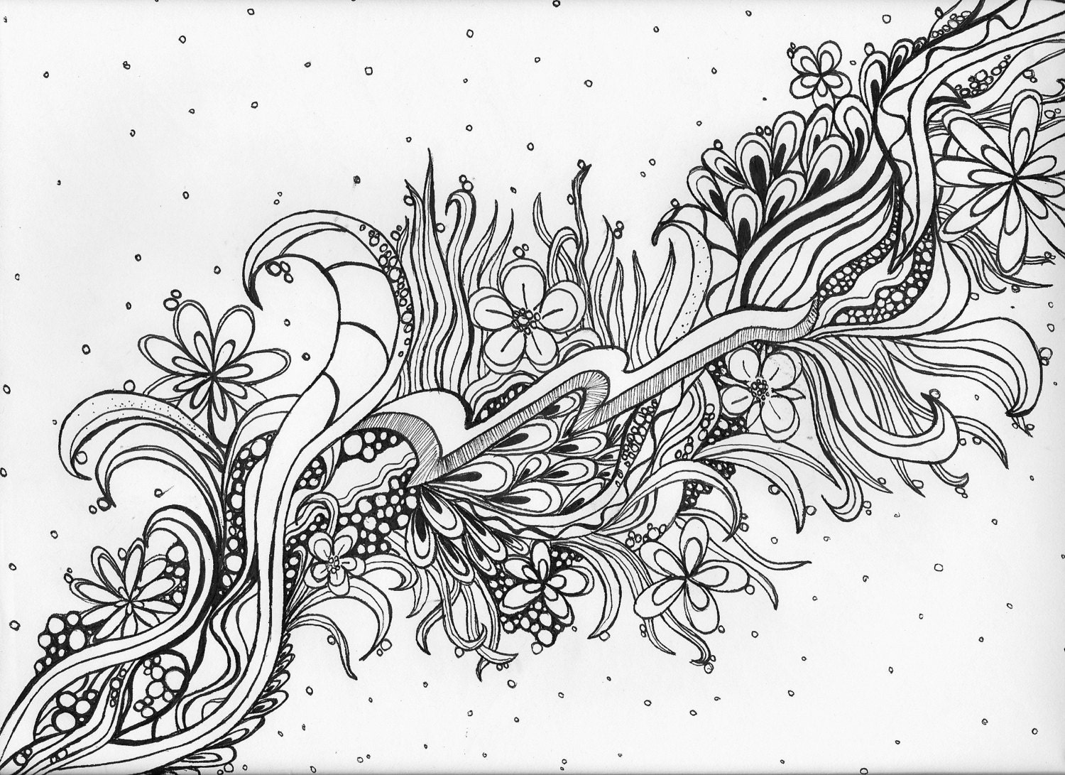 Adult coloring pagezen doodle artwall artoriginal hand drawnprintable wall artprintable coloring page at designs by willowcreek on etsy