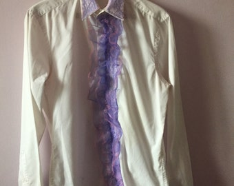 Bohemian electro swing circus themed mens shirt size 15 1/2 vintage shirt upcycled