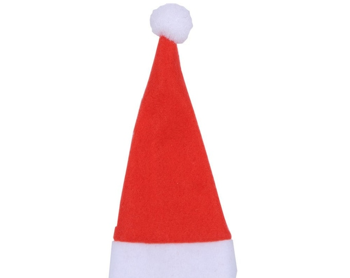 Pack of 10 Small Christmas Hats. 12cm x 6cm Seasonal Tree Decoration.  For Dolls, Xmas Craft, Gift, New Year, Clothes, Scrapbook and Cards