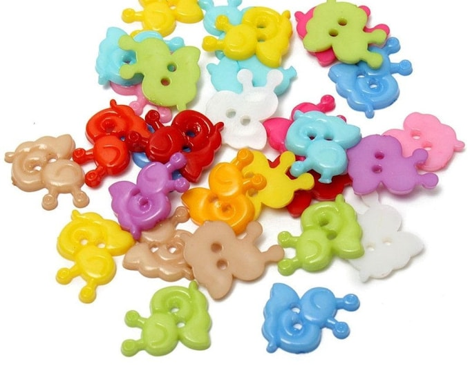 Pack of 100 Assorted Colours Snail Animal Buttons. 13mm x 15mm Children Clothes Accessories