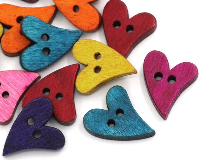 Pack of 50 Assorted Colours Wooden Love Heart Buttons. 20mm x 13mm