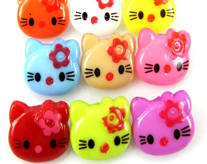Pack of 100 Assorted Mix Colours Plastic Cat Buttons. Animal Fasteners For Children Clothes
