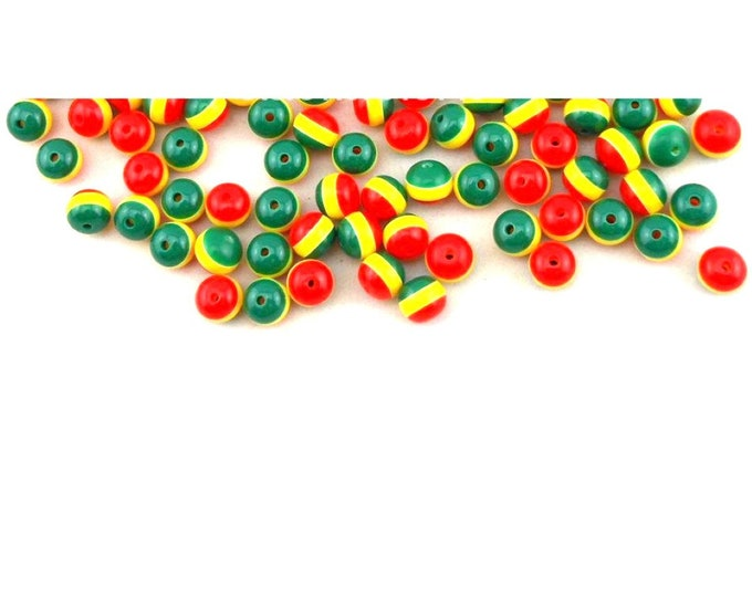 Pack of 100 Round Mini Rasta Colours Stripe Beads. 6mm Ghana Jamaica Reggae Spacers.