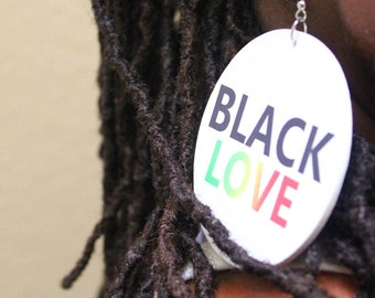 Black Love Original Wood Round 7cm Drop Earrings . Wooden Rebel Jewel Design On Both Sides.