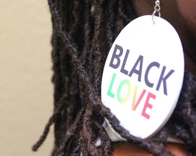 Black Love Original Wood Round 7cm Drop Earrings . Wooden Rebel Jewel Design On Both Sides.