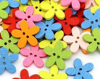 Pack of 100 Cute Wood Flower Shape Buttons. 15mm Diameter. Wooden Nature Theme