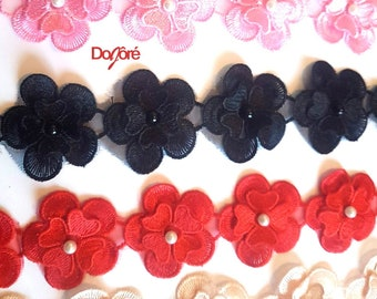 Pack of 16 Lace Flowers Applique Trim For Wedding Dress. Different Colours Organza