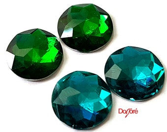 Pack of 30 Round Acrylic Faceted Flat Back 12mm Cabochons. Different Colours Rhinestones
