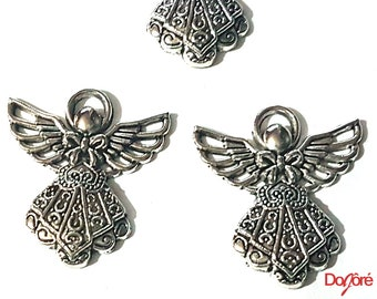Pack of 4 Silver Coloured Angel Fairy Charms. Nature Theme Fairytale Charms. 23mm x 25mm