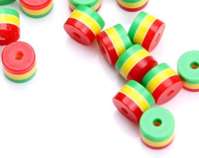 Pack of 100 Round Cylinder Tube Rasta Beads. Ghana Jamaica Reggae Stripes. 8mm x 9mm