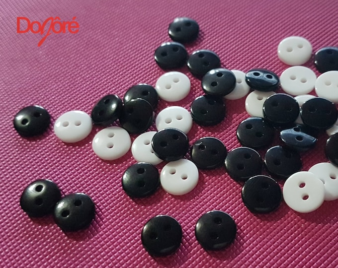 Pack of 100 Mini Round Plastic Buttons. Different Colours. 9mm Black or White Fasteners