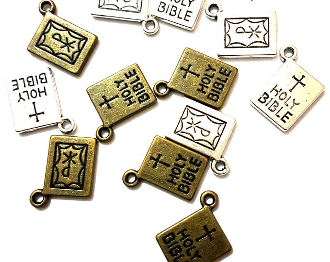 CLEARANCE Pack of 10 Holy Bible & Cross Charms. 10mm x 14mm. Bronze or Silver Xmas Pendants