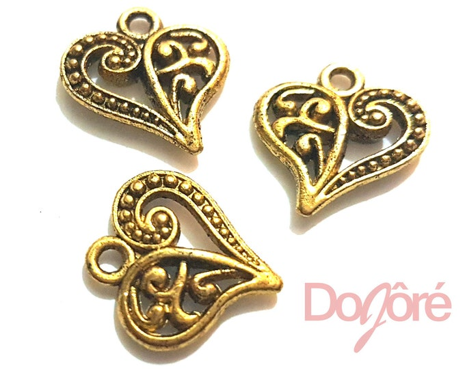 Pack of 20 Gold Love Heart Charms. Romance Jewellery Metal Pendants. 14mm x 13mm.