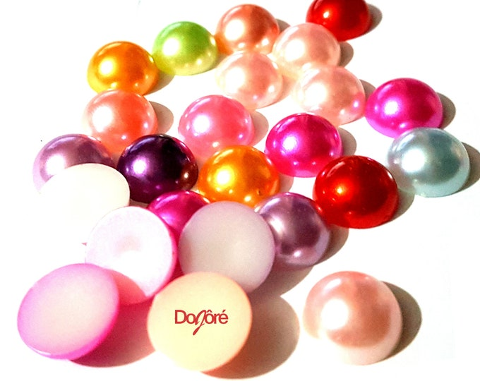 Pack of 90 Small Round Dome Assorted Half Pearl 8mm Flatback Cabochons. Scrapbooking Rhinestones