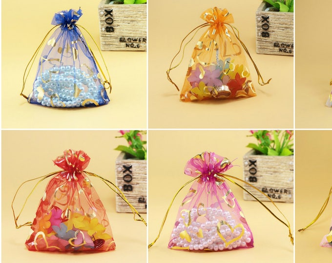 CLEARANCE Pack of 20 Big Gold Heart Organza Gift Bags. Different Colours. 13cm x 18cm Jewellery Pouch