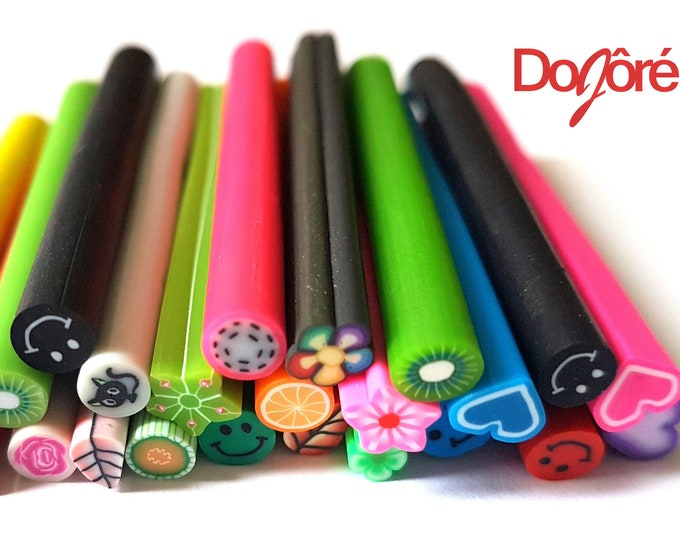 Pack of 50 Polymer Clay Fimo Canes. Assorted Colours and Designs Nail Art Sticks