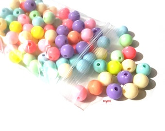 Pack of 100 Assorted Colours 8mm Round Acrylic Gum Ball Beads