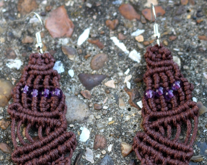 Quirky Handmade Brown Cord and Purple Seed Beads Macrame Drop Earrings