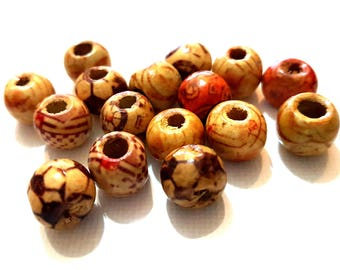 Pack of 100 Assorted Patterns Round Brown Wood Beads. 10mm Wooden Spacers for Jewellery Making