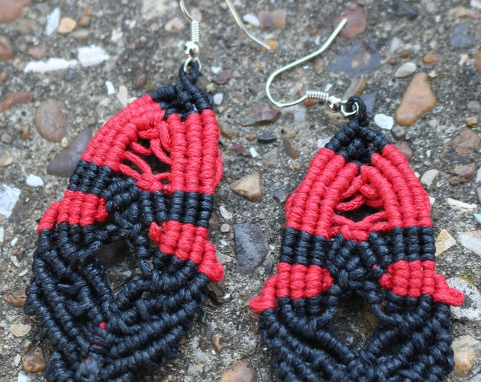 Handmade Black and Red Macrame Drop Earrings. Made From Waxed Cotton Cord