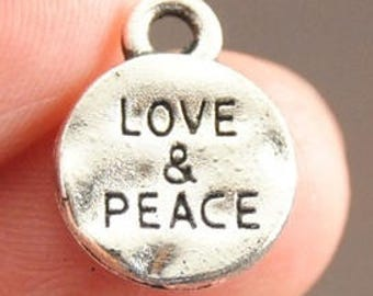 Pack of 50 Mini Silver Tone Love & Peace Charms. 10mm Valentine's Day Pendants