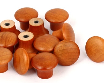 Pack of 14 Pre-Drilled Mini Brown Varnished Wood Mushroom Knobs With Screws. 22mm x 16mm
