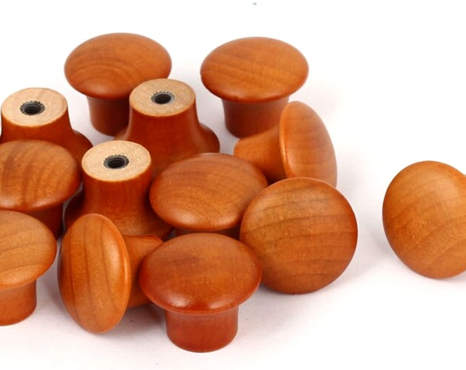 Pack of 14 Pre-Drilled Mini Brown Varnished Wood Mushroom Knobs With Screws. 22mm x 16mm