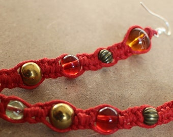 Handmade Red Waxed Cord and Assorted Beads Macrame Drop Earrings