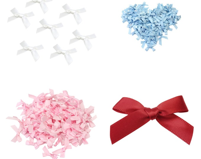 Pack of 100 Mini Satin Like Ribbon Bow Appliques. 4cm x 3cm. Different Colours Available. Xmas Crafts