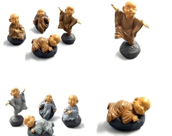 Pack of 4 Mini Buddha Figurines. Doll House Miniatures. Garden Minifigs. Different Colours Available