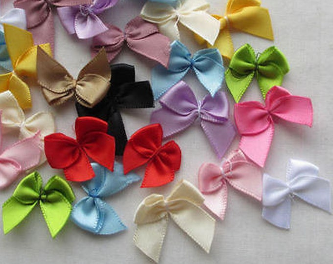 Pack of 200 Mini Ribbon Bow Appliques. Different Colours . Clothing and Xmas Embellishment Crafts