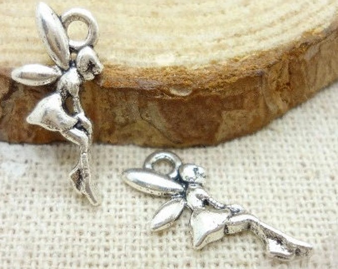 Pack of 50 Silver Coloured Fairy Charms. Fairytale Flying Angel Pendants. 8mm x 14mm