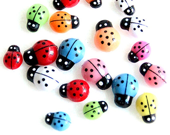 Pack of 100 Assorted Colours Plastic 3D Ladybird Stickers. 9mm x 13mm Ladybug Embellishments