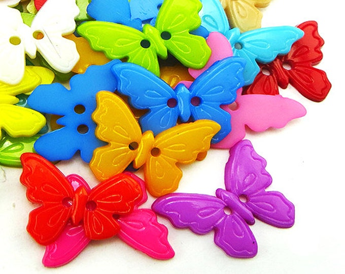 Pack of 50 Assorted Colours Plastic Butterfly Buttons. Children Clothing Accessories