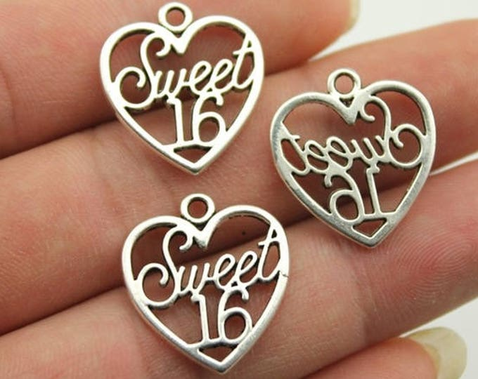CLEARANCE Pack of 20 Silver Coloured SWEET 16 Heart Charms. 19mm x 21mm Happy Birthday Pendants