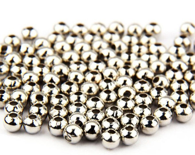 Pack of 200 Mini Round Silver Spacer Beads. 4mm Charms