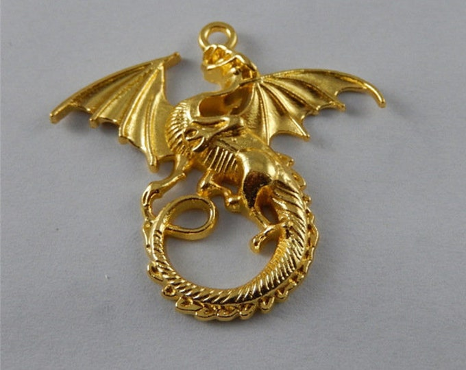 Pack of 2 Gold Coloured Metal Dragon Charms. Mythological Creature Pendants. 46mm x 39mm