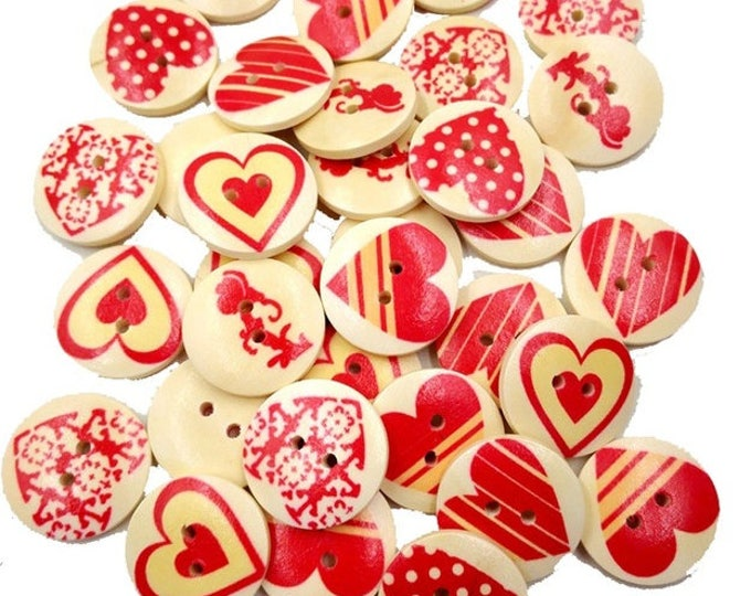 CLEARANCE Pack of 50 Round Assorted Beige Red Heart Buttons. 20mm Valentine's Day Love Dress Maker Sewing Fasteners