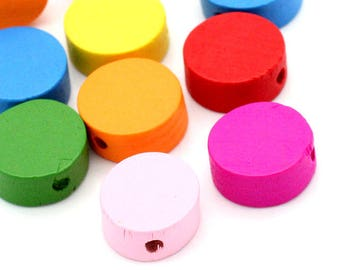 Pack of 100 Assorted Colours Flat Round Rondelle Wood Beads. 12mm Flat Wooden Spacers
