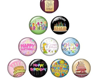 Pack of 20 Happy Birthday Round Glass Snap Buttons. 18mm Clothes Fasteners