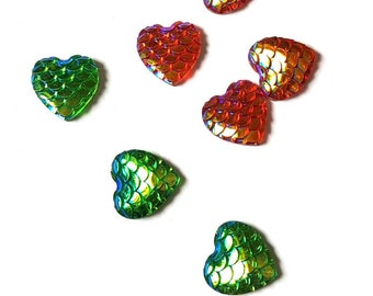 Pack of 100 Heart Shape Flat Back Fish Scales Cabochons. Different Colours Available.