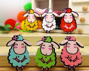 Pack of 50 Assorted Colours Wooden Sheep Lamb Buttons. 24mm x 18mm Nature Theme