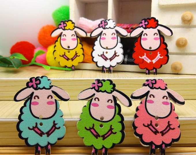 Pack of 100 Assorted Colours Wooden Sheep Lamb Buttons. 24mm x 18mm Nature Theme