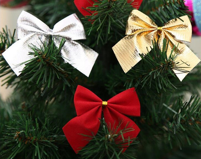 Pack of 10 Christmas Tree Ribbon Bow Appliques Different Colours. Clothing Xmas Crafts